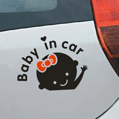 """Baby In Car"" Waving Baby on Board Safety Sign Car Vinyl Decal Sticker Ontvx"