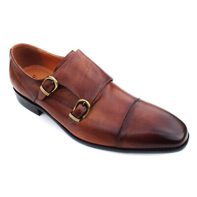 Rich Mbariket Men's Brown Genuine Leather Double Monk Strap Oxford Dress Shoes