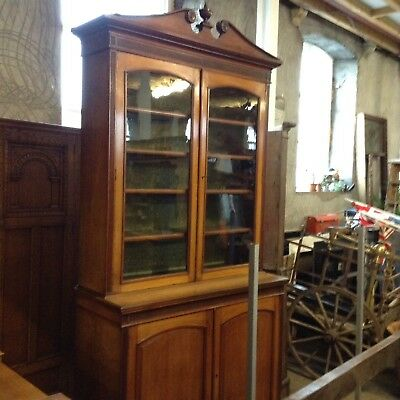 Oversized Victorian Glazed Top Honey Oak Bookcase