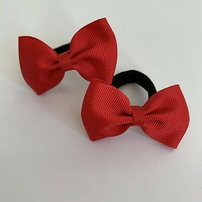 Pair Of Red Hair bow bobbles/hair Accesories/School Uniform