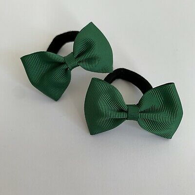 Pair Of Forest Green Hair bow bobbles/hair Accesories/School Uniform