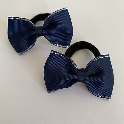 Pair Of Navy With Silver Edged Hair bow bobbles/hair Accesories/School Uniform