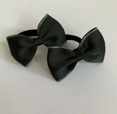 Pair Of Black With Silver Edged Hair bow bobbles/hair Accesories/School Uniform
