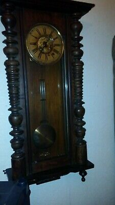 Large Antique Vienna Wall Clock - Working Condition
