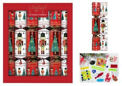 12 Pack of Luxury Xmas Crackers Nutcracker Soldier & Christmas Tree Design