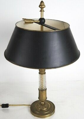 Antique French Gilt Dore Bronze And Crystal Bouillotte Lamp