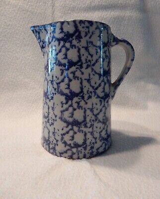 ANTIQUE BLUE STONEWARE SPONGEWARE PITCHER, Very Good Condition, 1800s