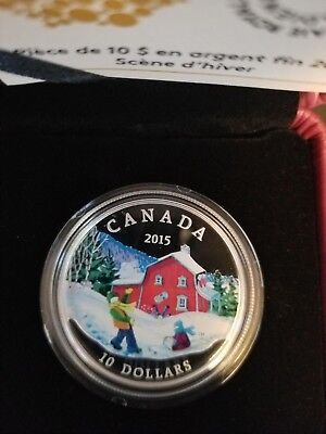 2015 'Winter Scene' Colorized Proof $10 Fine Silver Coin 1/2oz