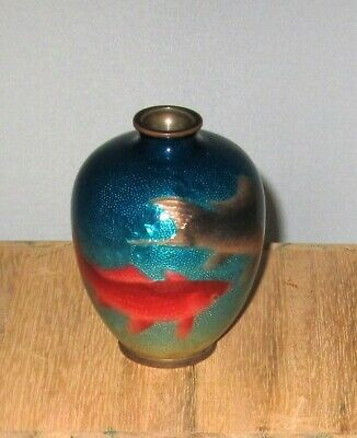 Wonderful Antique Japanese Ginbari Cloisonne Enamel Vase with Koi - Excellent