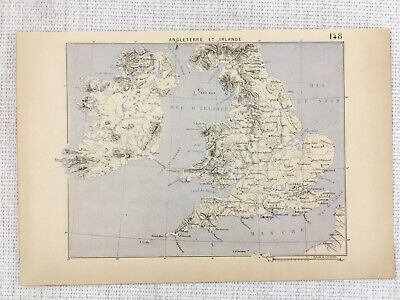 1881 Antique Military Map of The British Isles Great Britain Ireland Eire FRENCH