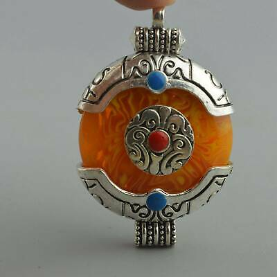China Collectable Handwork Miao Silver Inlay Agate Carve Totem Usable Pendant