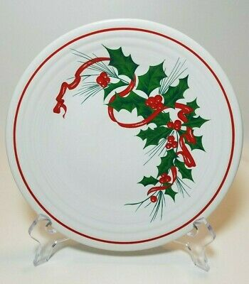 Homer Laughlin FIESTA Holiday Ribbon Holly Berry 9 in Luncheon Plate 1988 - 2010