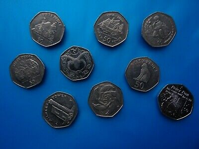 RARE 50 pence coins - of Gibraltar & Isle of Man / Peter Pan * Dolphins 50 p *