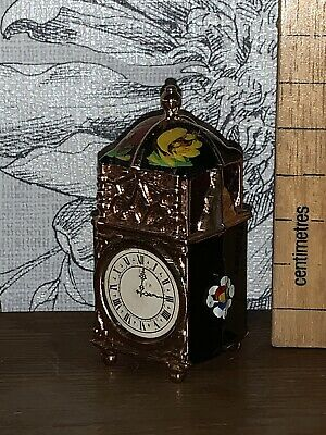 Vintage Dolls Miniature Brass Canal Barge ware. hand enamel Carriage Clock
