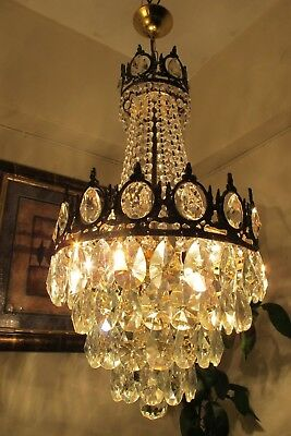 Antique Vintage French Basket Style Crystal Chandelier Lamp Light 1940's.13 in