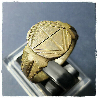 ** CROSS ** ancient bronze LEGIONARY  late ROMAN RING ! 6,23g