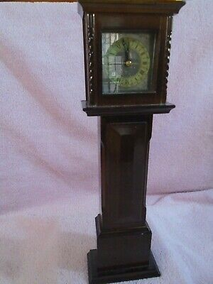 "Vintage Mini Grandfather Clock All Wood 13"" Tall Tokei Quartz Movement."
