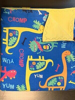 Handmade Colorful Dinosaur Flannel Blanket - Double Thickness
