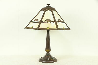 Hand Painted Antique Lamp, Stained Glass 8 Panel Shade #32042