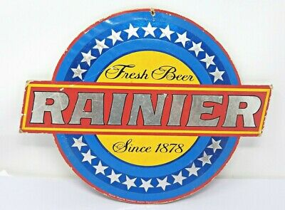 Vintage Seattle Rainier Beer Fresh Beer Since 1878 14 x 11 in. Cardboard Sign