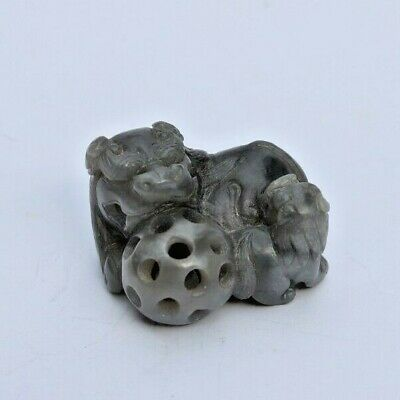 Antique Chinese Master Hand Carved Gray Jade Stone Foo Dog W/ Orb Ball