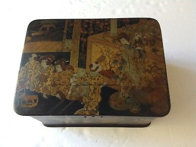 ASIAN Antique LACQUERED BOX w/ 5 Scenes    very old