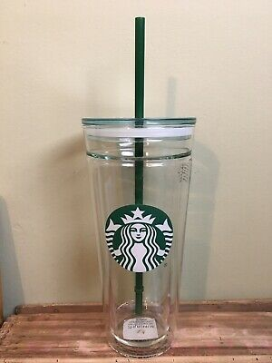 Starbucks Venti Clear Glass Double Wall Cold Cup Tumbler 20 oz Brand New Rare