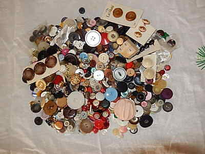 Lot of Vintage Antique& New Buttons Mix l Nearly 2 Lb Crafts & Sewing