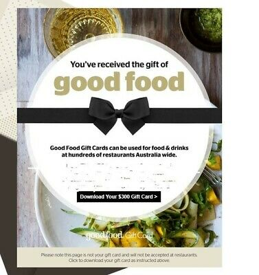 Good Food Restaurant Gift Card $300 value for $280 (expiry 2022)