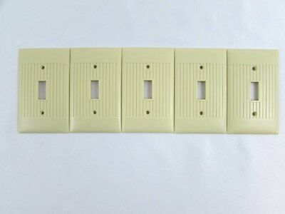 Vintage Sierra Electric Single Switch Plate Cover Lot of 5 Ivory Bakelite 1 Gang