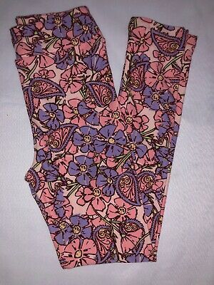 (BoxLL) LuLaRoe Kids Leggings L/XL New Pale Pink W/ Purple Pink Paisley Floral