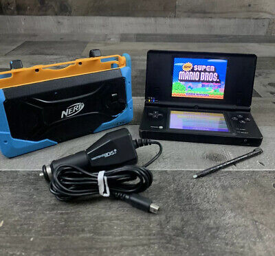 Nintendo DSi Launch Edition Black Handheld System New Super Mario Bros Nerf Case