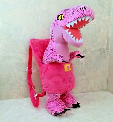 Build-A-Bear Workshop Pink Shiny T-Rex Dinosaur Plush with Backpack Carrier BABW