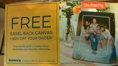 Shutterfly free 5x7 Easel Back Canvas Codes & 50% off code  expires 12/31