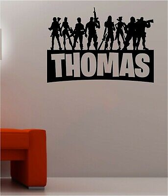 Personalised Name PS4 Xbox Wall Stickers Silhouette Fort Decals Nite Characters