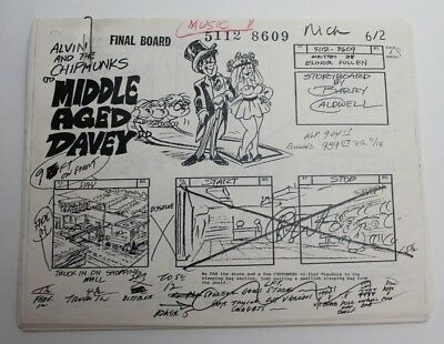 """ALVIN & THE CHIPMUNKS / 1986 TV Series Storyboards Script """"Middle-Aged Davey"""""""