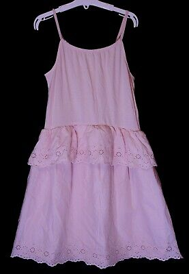 Girls Gap Pink Tiered Broderie Anglaise Lace Sleeveless Dress Age 12-13 Years