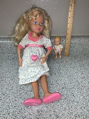 Mommy's Having a Baby Doll w/ Baby Vintage Tyco 1992 Pregnant w/ Pouch Shoes
