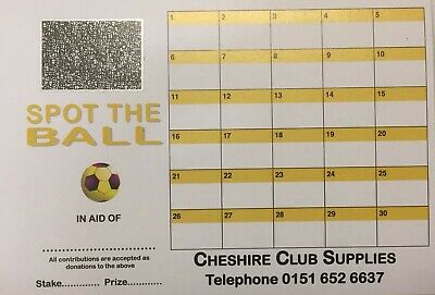 30 space spot the ball SCRATCH cards - 25 or 50 pack