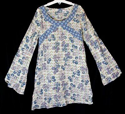 Girls M&S White Blue Purple Floral Sequins Summer Long Sleeve Dress Age 13 Years