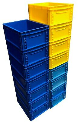15 x Heavy Duty 15 Litre Plastic Stacking Euro Storage Containers Boxes Crates