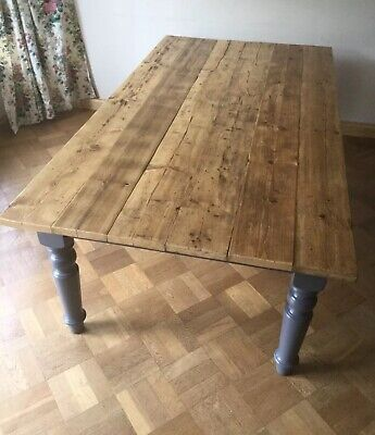 Rustic Pine Farmhouse Kitchen Dining Table Reclaimed Scaffold Board Large