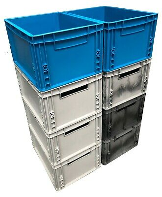 8 x Heavy Duty 20 Litre Plastic Stacking Euro Storage Containers Boxes Crates