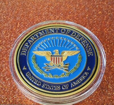 40mm 1oz COLORIZED DEPARTMENT of DEFENSE COIN IN CAPSULE BRAND NEW