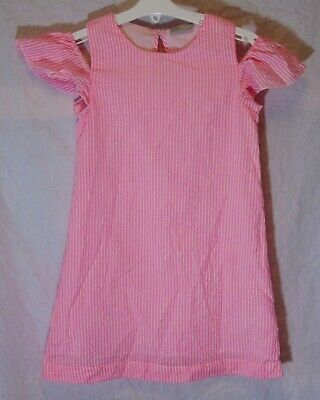 Girls Matalan Neon Pink White Stripe Cold Shoulder Fully Lined Dress Age 7 Years