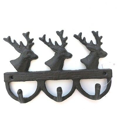 Cast Iron Deer Head Triple Key Hook Keys Coat Hat Rack Rustic Home Decor New
