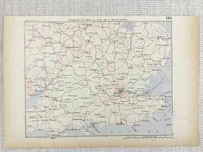 1881 Antique Military Map of South East England London FRENCH 19th Century