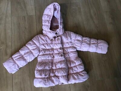Girls Next Pink Padded Hooded Coat - Age 1.5/2