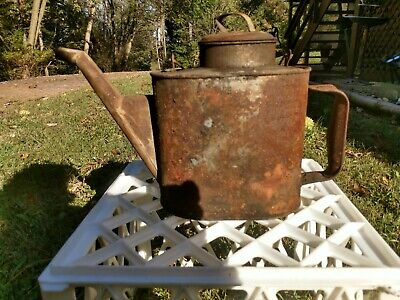 Vtg Metal Can (Gas, Oil, Kerosene) With Spout, handle, removable maybe Railroad.