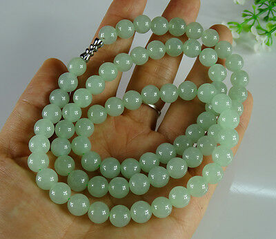 Jade Jadeite Beads Necklace Certified Icy Green Handmade Untreat A Jade B-189-2